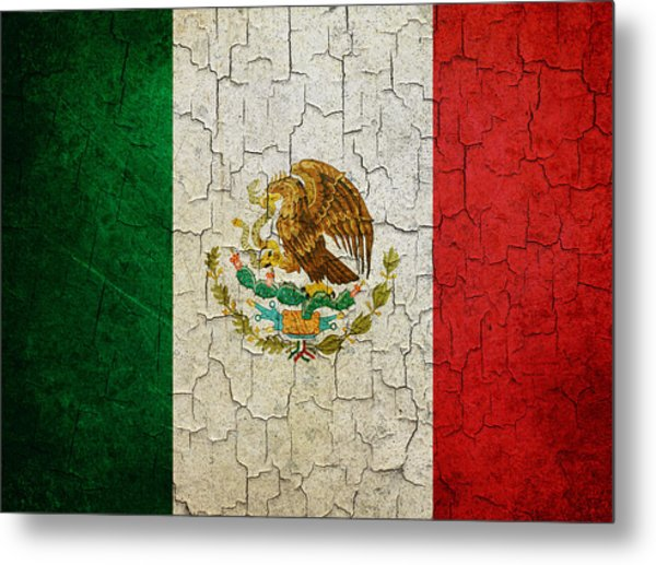 Grunge Mexico Flag Metal Print