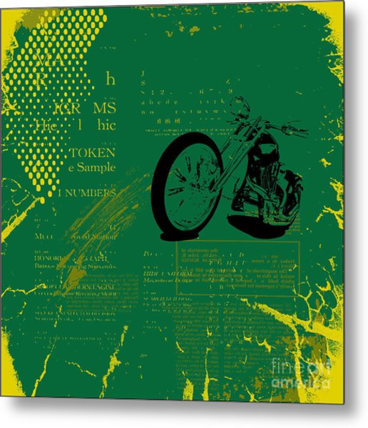 Grunge Motorcycle Background Vector Metal Print