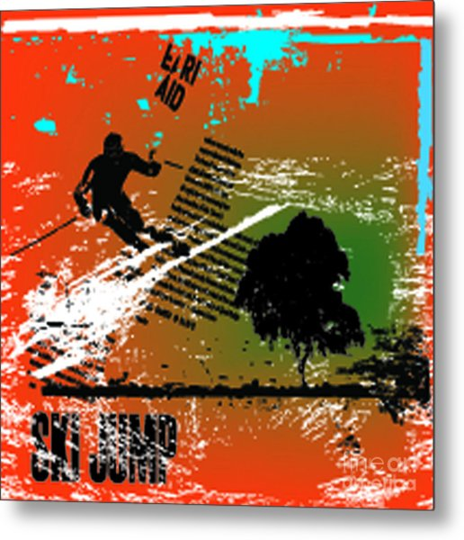 Grunge Winter Background With Skier Metal Print