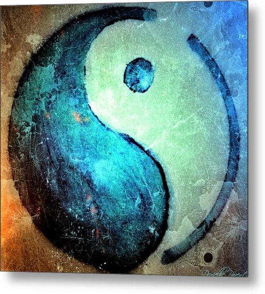 Grunge Yin Yang Water Is Precious Metal Print