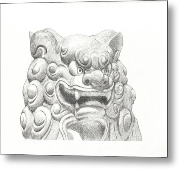 Guardian Lion Metal Print