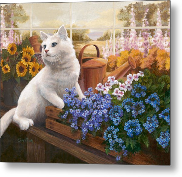 Guardian Of The Greenhouse Metal Print