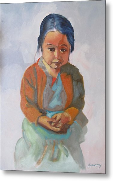 Guatemalan Girl With Folded Hands Metal Print