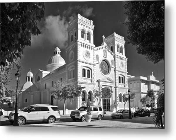 Guayama Church And Plaza B W 1 Metal Print