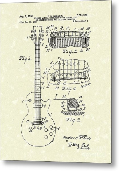 Guitar 1955 Patent Art Metal Print