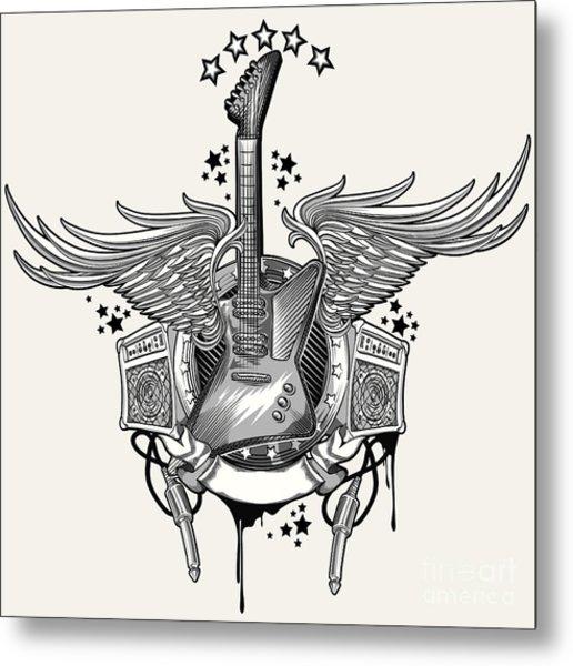Guitar Emblem Metal Print by Alex bond