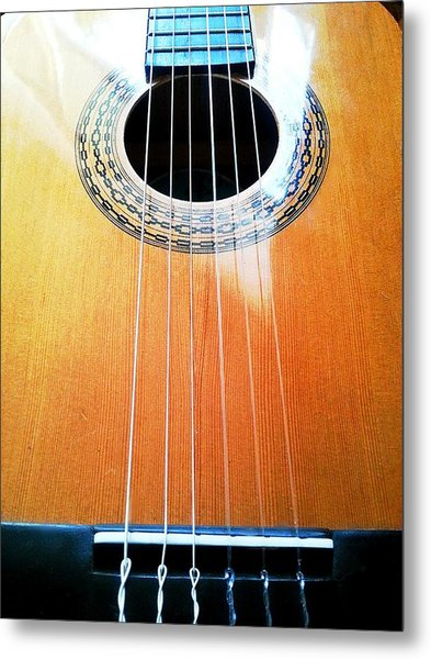 Guitar In The Light Metal Print