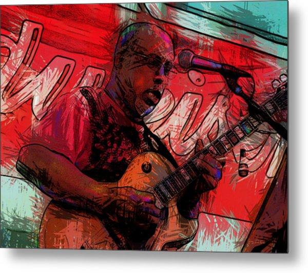 Guitar Jazz Player Metal Print