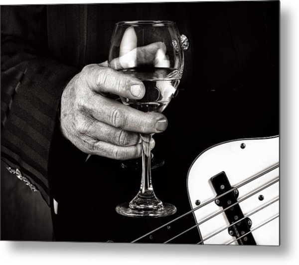 Guitar Player And A Glass Of Wine Metal Print