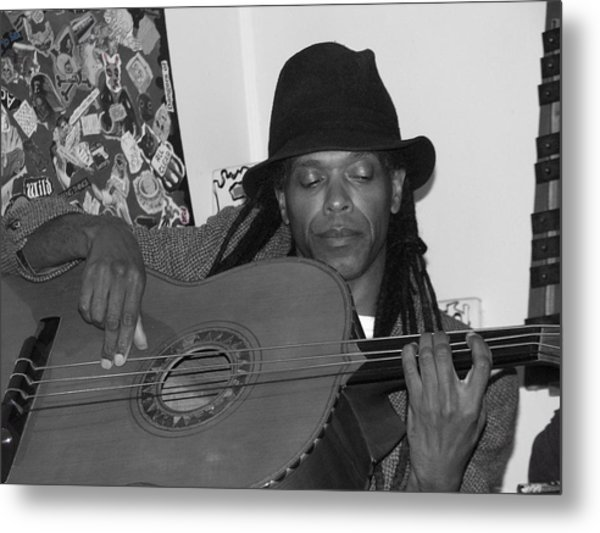 Guitar Player Black Hat Metal Print by Cleaster Cotton