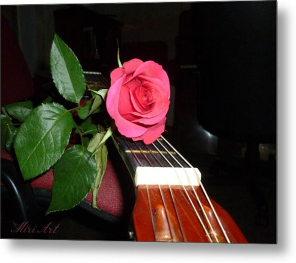 Guitar Rose Metal Print
