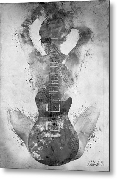 Metal Print featuring the digital art Guitar Siren In Black And White by Nikki Smith