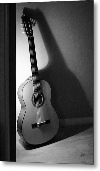 Guitar Still Life In Black And White Metal Print