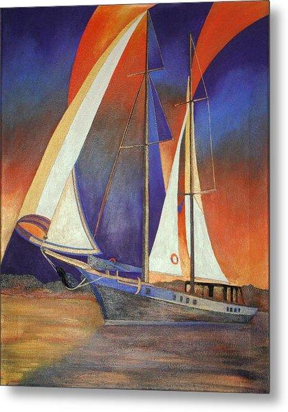Gulet Under Sail Metal Print