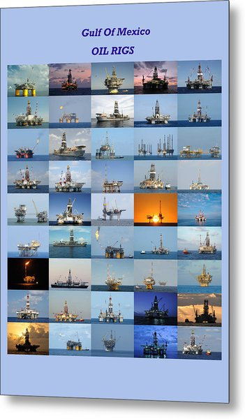 Gulf Of Mexico Oil Rigs Poster Metal Print