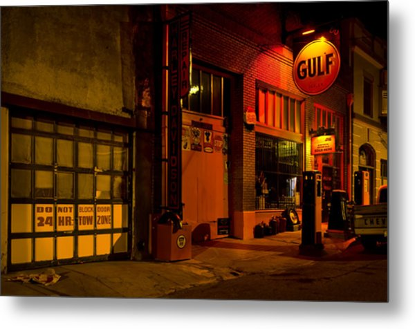 Gulf Oil Vintage Night Time Horizontal Metal Print