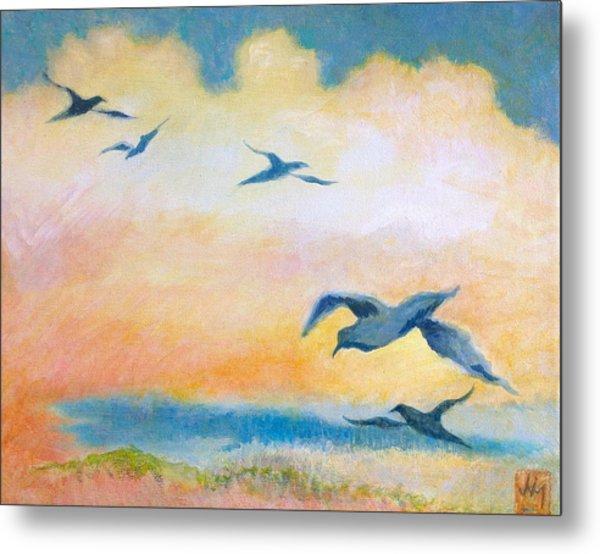 Gulls At Sunset Metal Print by Julia Miller