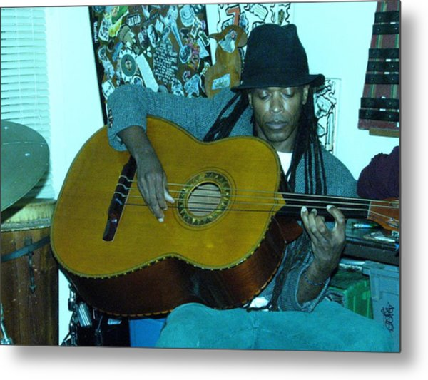 Gully Guitar And Black Hat  Metal Print by Cleaster Cotton