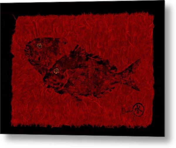 Gyotaku Scup Series 2  Red Unryu Paper Metal Print