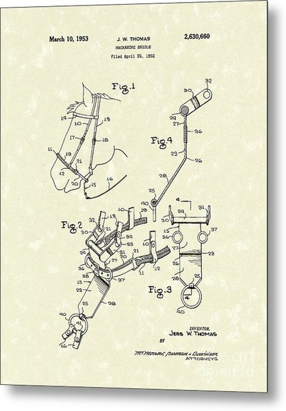 Hackamore Bridle 1953 Patent Art Metal Print