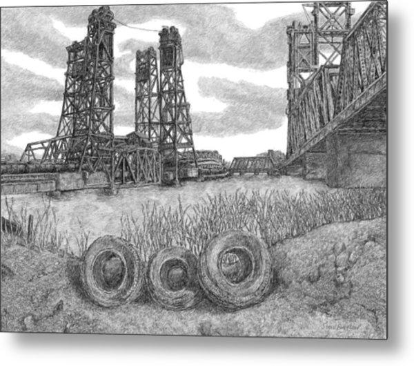 Hackensack River Train Bridge Metal Print