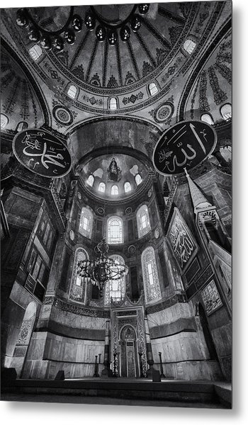 Hagia Sophia Interior - Bw Metal Print