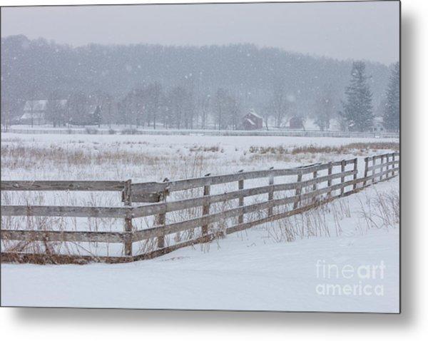 Hale Farm At Winter Metal Print by Joshua Clark