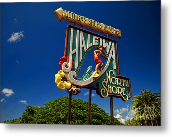 Haleiwa Sign On The North Shore Of Oahu Metal Print