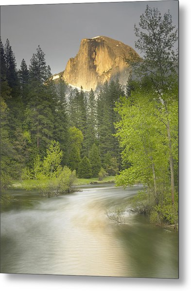 Half Dome And The Merced River At Sunset Metal Print