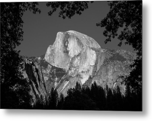 Half Dome Black And White Metal Print
