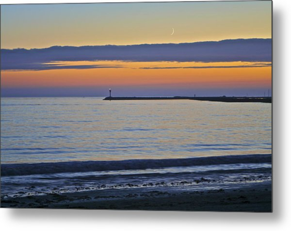 Half Moon Bay Under The Moon At Sunset Metal Print