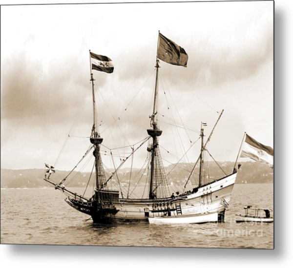 Half Moon Re-entered Hudson River After An Absence Of 300 Years In Sepia Tone Metal Print