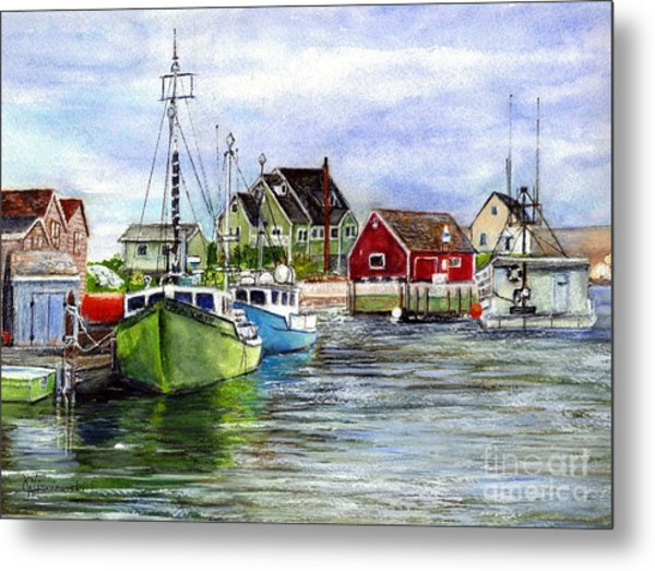 Peggys Cove Nova Scotia Watercolor Metal Print