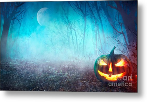 Halloween Background. Spooky Pumpkin Metal Print
