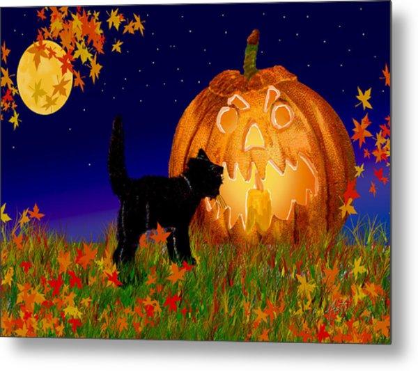 Halloween Black Cat Meets The Giant Pumpkin Metal Print
