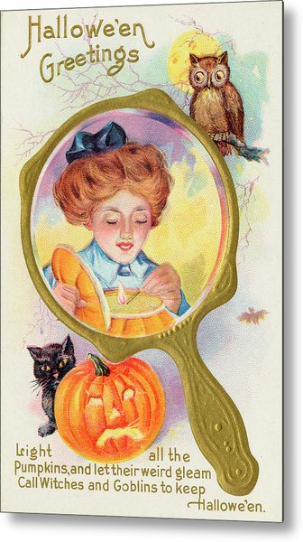 Hallowe'en Magic - Lighting Metal Print by Mary Evans Picture Library