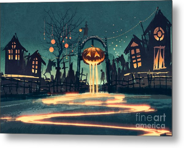 Halloween Night With Pumpkin And Metal Print