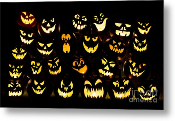Halloween Pumpkin Faces Metal Print