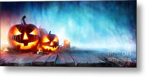 Halloween Pumpkins On Wood In A Spooky Metal Print by Romolo Tavani