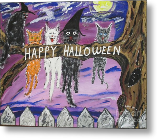 Halloween Scaredy Cats Metal Print