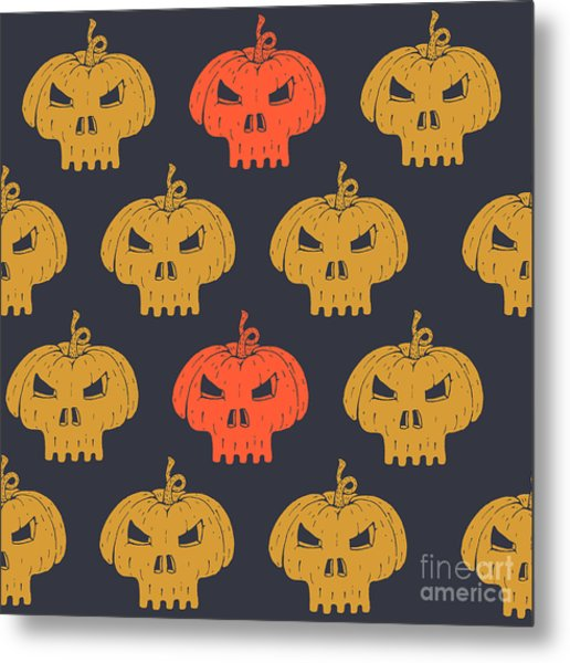 Halloween Seamless Pattern With Metal Print