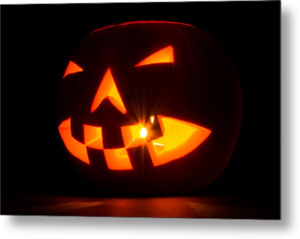 Metal Print featuring the photograph Halloween - Smiling Jack O' Lantern by Scott Lyons