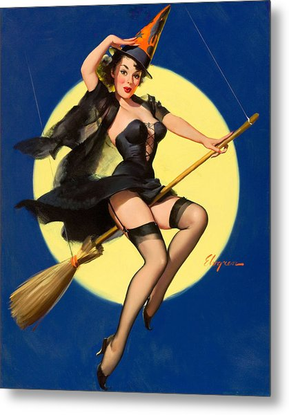 Halloween Witch Pinup Girl Metal Print