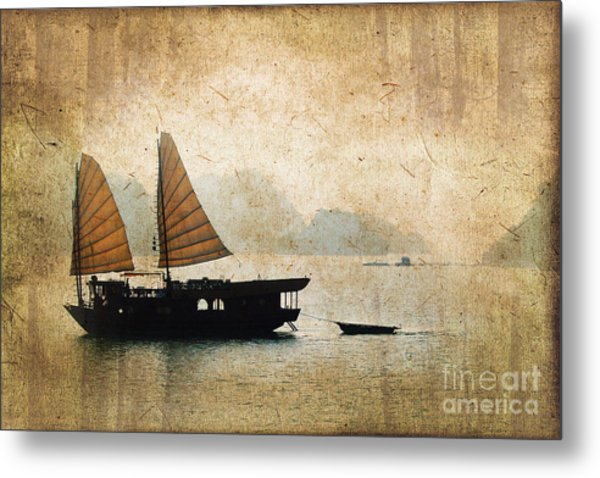 Halong Bay Vintage Metal Print