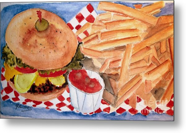 Hamburger Plate With Fries Metal Print