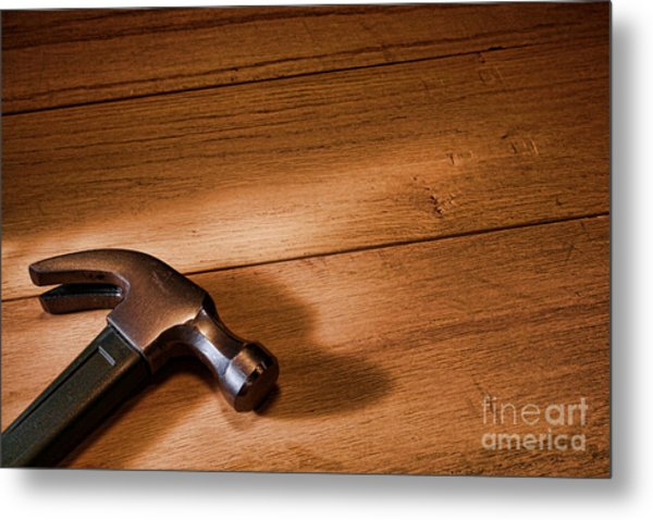 Hammer On Wood Metal Print