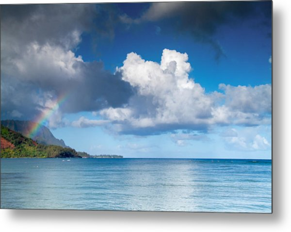 Hanalei Bay And Rainbow Metal Print