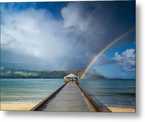 Hanalei Bay Pier And Double Rainbow Metal Print