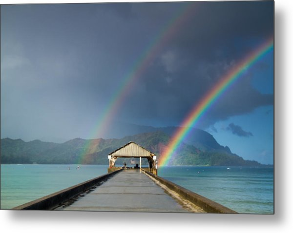 Hanalei Pier And Double Rainbow Metal Print