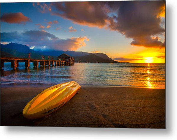 Hanalei Pier In Kauai At Sunset Metal Print